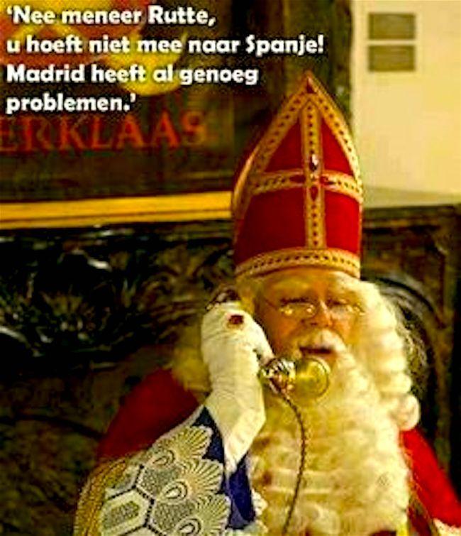 """""""Nee, meneer Rutte, u hoeft niet mee naar Spanje! Madrid heeft al problemen genoeg"""" (foto Pinterest)"""
