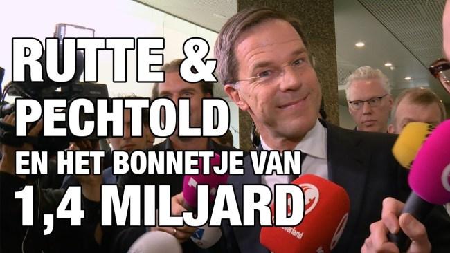 Rutte & Pechtold en het bonnetje van 1.4 miljoen (foto YouTube)
