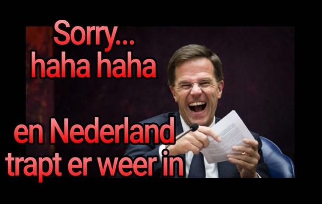 Sorry haha haha en Nederland trapt er weer in (foto Twitter)