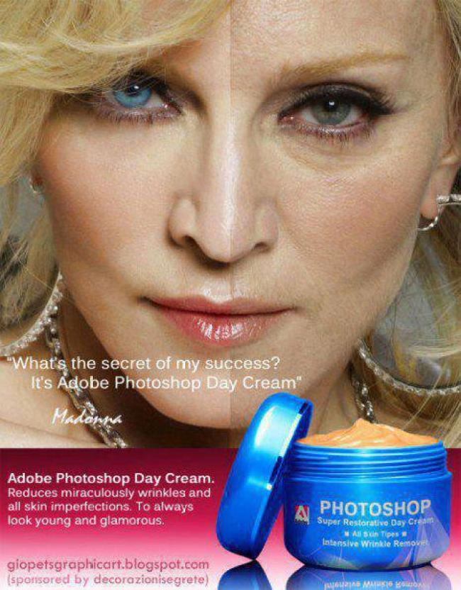"""What's the secret of my succes? It's Adobe Photoshop Day Cream' (foto whale.to)"