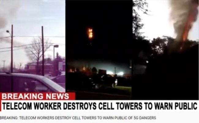 DESTRUCTION 5G CELL TOWERS (foto Facebook)