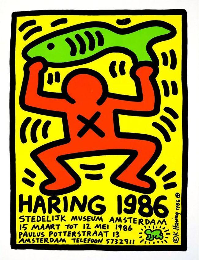 Keith Haring - Affiche van de expositie van Keith Haring in het Stedelijk Museum in Amsterdam, 1986