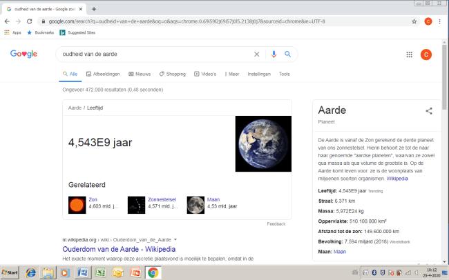 Oudheid van de Aarde (foto Google)