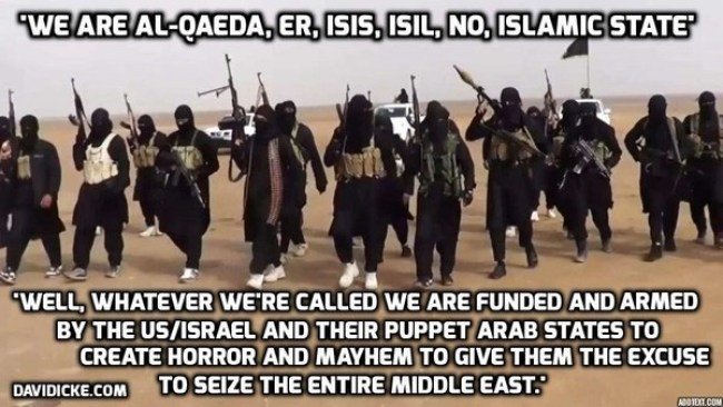 """""""WE are Al Queda, ER, ISIS, ISIL, NO, Islamic State"""" (foto David Icke)"""