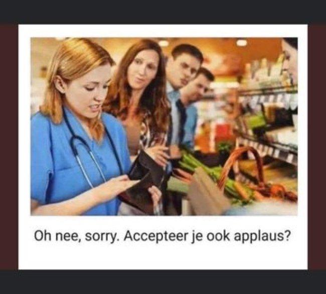 Accepteer je ook applaus? (foto Twitter)