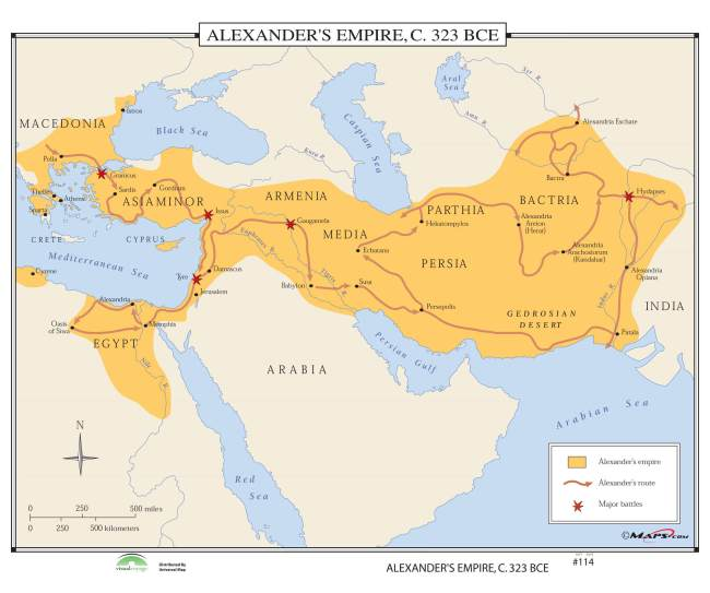 Alexander S Empire, circa 323 BCE (foto The Map Store)