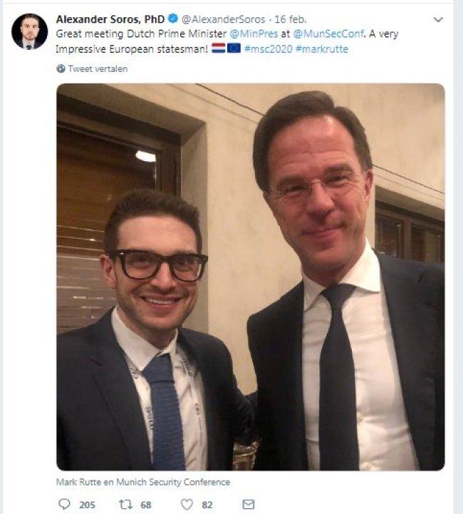 Alexander Soros, son of George Soros meets Mark Rutte (foto Twitter)
