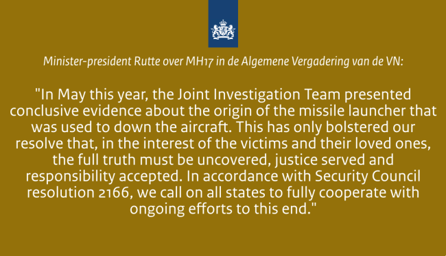 MP Rutte over MH17 bij UN (foto Twitter)