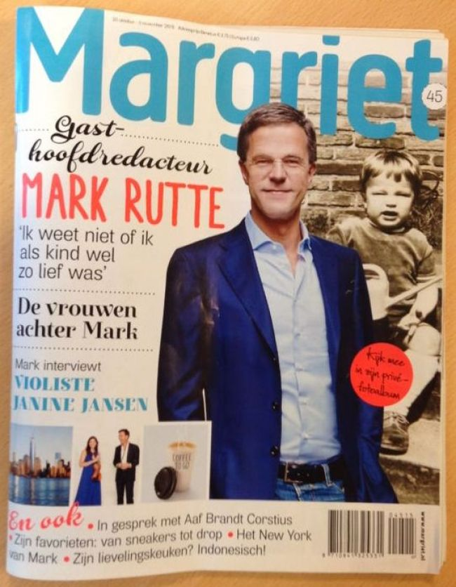 Mark Rutte, gast hoofdredacteur Libelle (foto Twitter)