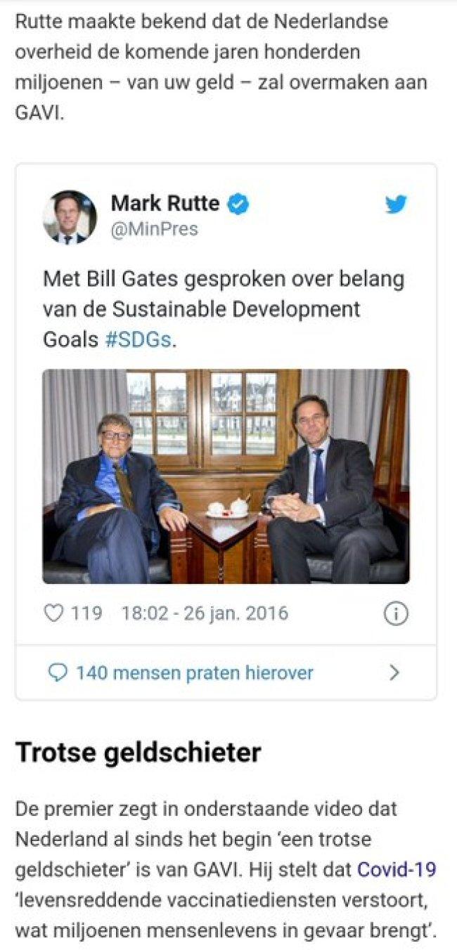 Mark Rutte over Bill Gates (foto Twitter)
