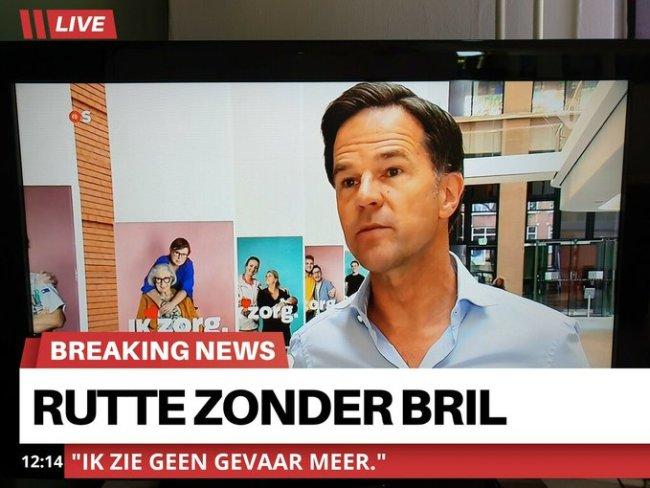 Mark Rutte zonder bril (foto Twitter)