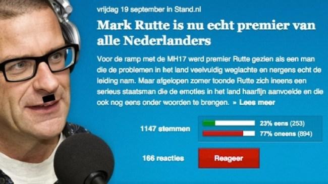 Rutte echt premier van alle Nederlanders sinds MH17 (foto GeenStijl)