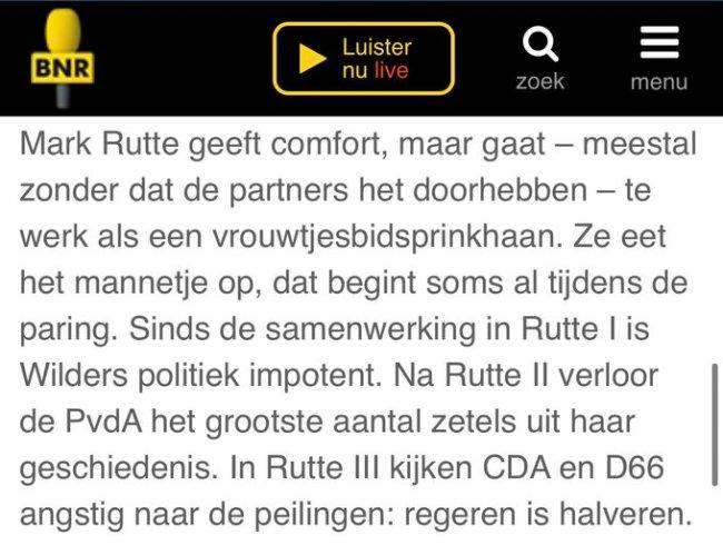 Rutte gaat te werk als een vrouwtjesbidsprinkhaan (foto Twitter)