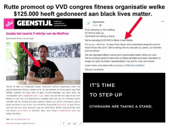 Rutte promoot op VVD congres Gymshark (foto Twitter)