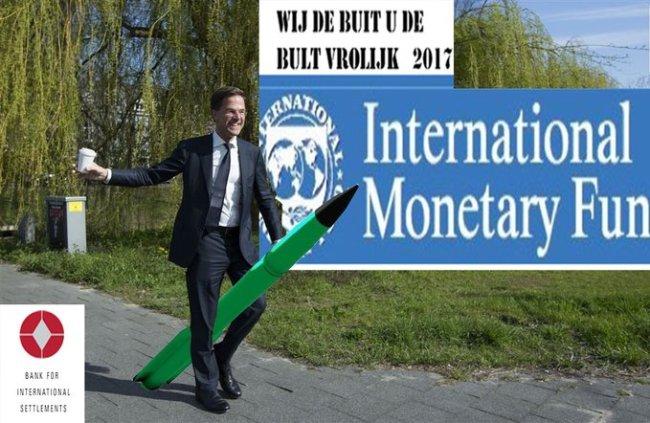 Wij de buit, U de bult, Rutte bij het IMF (foto Twitter)