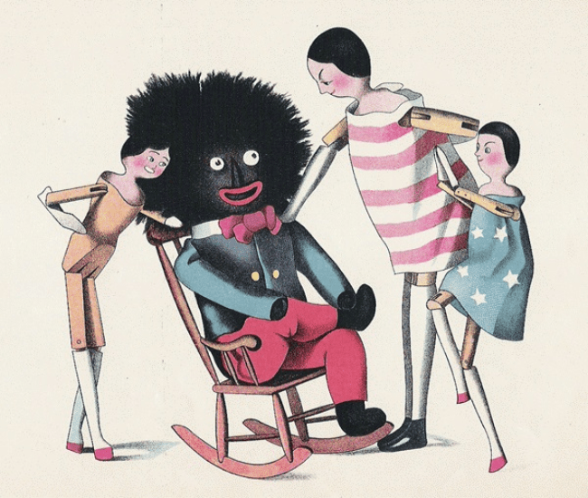 Florence Kate Upton's Golliwogg in formal minstrel attire in The Adventures of Two Dutch Dolls and a Golliwogg in 1895 (foto Wikipedia)