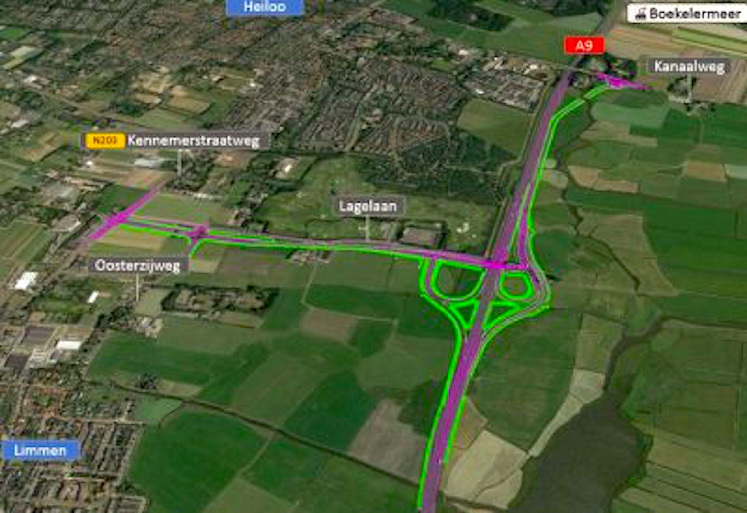 Geprojecteerde aansluiting A9 Heiloo (foto Aanbestedingsnieuws)