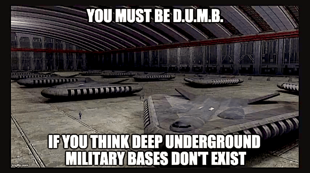 You must be D.U.M.B. if you think Deep Underground Military Bases don t exist (foto BitChute)