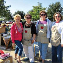 The After Schooler's garage sale members, left to right: Carol Foley, Darla Chupp, Robbie Waits and Helen Adamson.