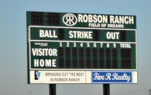 The Robson Ranch softball score board