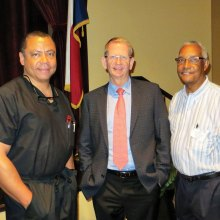 Dr. Daniel Caldwell and Dr. Michael Spivey, speakers, and Rev. Dr. Gerald Jones, moderator