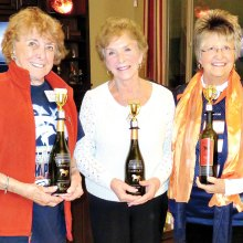 Left to right: Blind Tasting winners with trophies: Charlene Cottingham, Eileen Whittaker and Linda Sorg