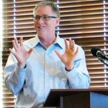 Mayor Chris Watts fielding questions regarding the future of Denton
