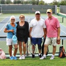 Tennis Senior Olympics finalists: Jackie Kuykendall, Lynne Hyatt, Jesse Cardenas and Jeff Harwell.