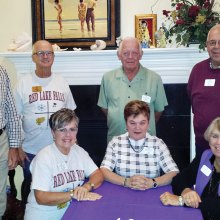 Left to right: Larry Dougherty, Ron Lehrer, Bill Revering, Bruce Foster, Maureen Lehrer, Carol Foster and Shirley Revering