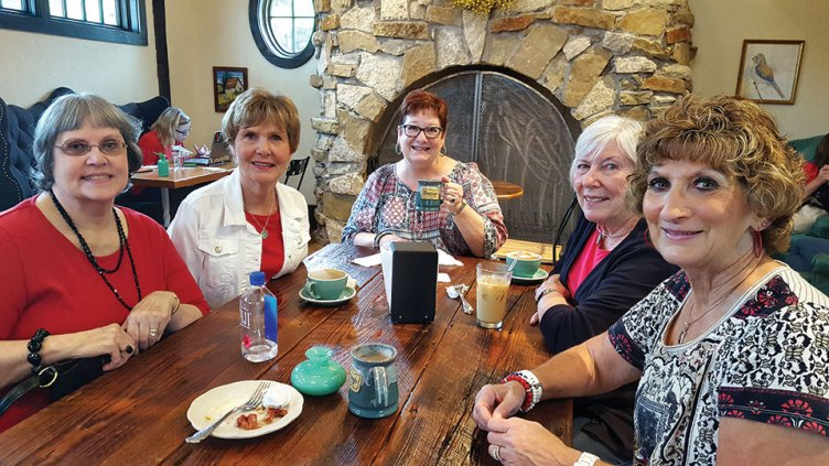 Judy Loomis, Mala Bowdouris, Gayle Coe, Nanci Zipes and Phyllis Ayers at the coffee house