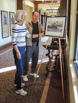 Jan Goodwin and Jack Twiggs setting up the image of the old house