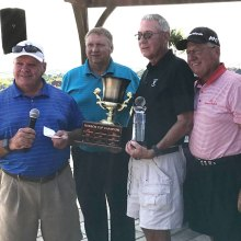Joe Cooper, MGA President; David Thatcher, Golf Pro; Lyle Nevius Tournament Champion; William Vess, MGA Treasurer
