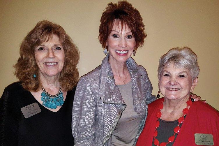 Left to right: Joyce Frey, Sandra Brown and Jan Utzman enjoying the Women's Club luncheon