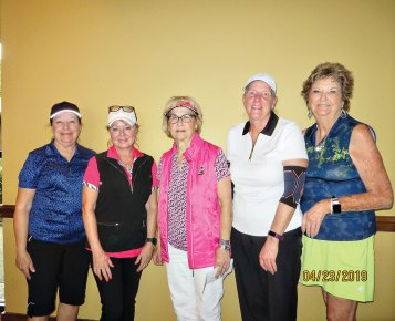 Flight 4 winners (from left to right): Brenda Alford, Monica Bishop, Ruth Bowen, Annette Graham and Sally Ortiz.