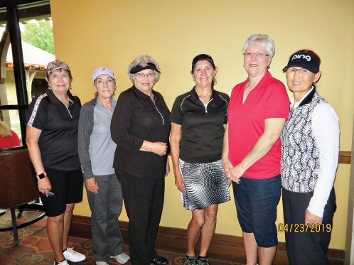 Flight 1 winners (from left to right): Diane Miller, Paula Hayes, Pat Sands, Gale Hicks, Althea Parent and Ok Cha Cummings.