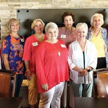 Left to right: Linda Lekawski (Oklahoma State), Consie Javor (Sam Houston State), Sue Davis (SMU), Jan Utzman (Oklahoma State), Martha Fagin (University of Oklahoma), Kay Schorn (Colorado State), Kathryn Stream (Vanderbilt), and Elaine Sabre (New Mexico State).