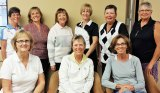 2014-15 RRLGA Board, left to right, back row: Jean DeChristopher, Asst. Rules/Handicap Chair; Layne Jones, Secretary; Jan Stocek, Membership Chair; Karen Connell, Rules/Handicap Chair; Kathy Holwick, Tournament Chair; Lorna Watts, AWGA Rep; front row: Carol Ilten, Treasurer; Candy Burtis, President; Dee Lee, Vice President. Not pictured: Cindy Jensen, Asst. Tournament Chair; MaryLou Walton, Past President.
