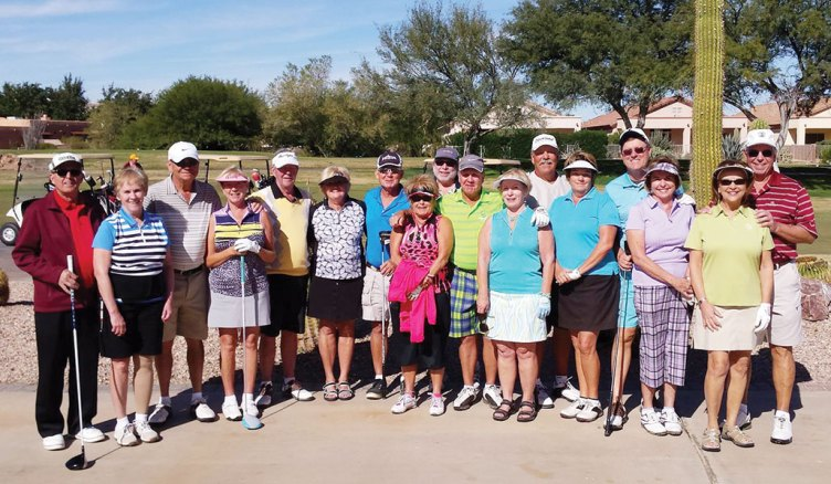 Left to right: Roger and Sandy Horazuk, Tom and Barbara Gayer, Bill and Jeri Srenaski, Jim Stogsdill, Patti Baumann, Steve Haber, Bob and Judy Brozek, Lyn and Susan Worner, Andy and Kathleen Hockett and Jan and Russ Stocek. Missing: Nancy Stogsdill and Meg Haber