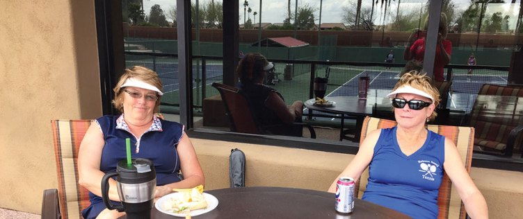 Susan Worner and Terry Lukasik at the tennis social against Sun City Anthem at Merrill Ranch