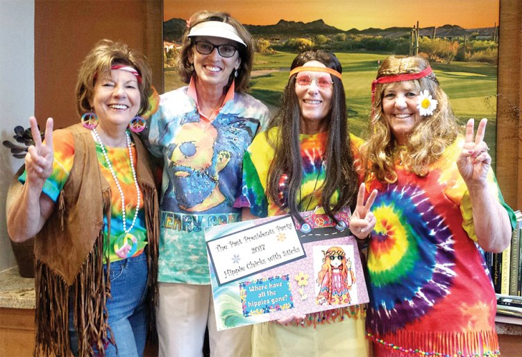Hippie Chicks Past Presidents: Joanne Heiman, Dee Lee, Candy Burtis and MaryLou Walton