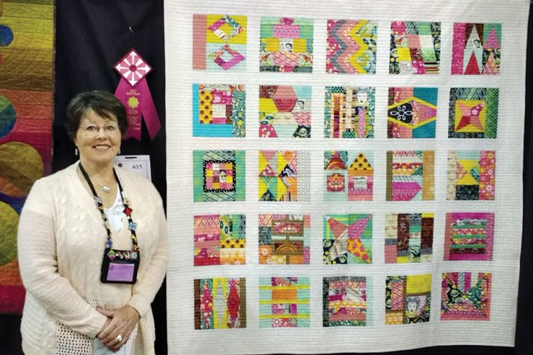 Gayle Strack with her second place ribbon at the Tucson Quilt Show
