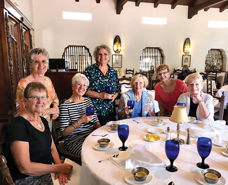 Club members, left to right, back row, standing: Sharon Brewster, Mary Brown and Julie Lesica; seated: Carolyn Wittman, Mary Burton, Joan Sidles and Karen Marfice.