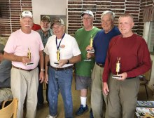 Top shooter from each Robson Community, left to right: Ron Schroer, Robson Ranch; Roger Fendt, Quail Creek; Darwin Puls, PebbleCreek; Charles Chapman, Sun Lakes; Bruce Engle, SunBird; and Dave Sack, SaddleBrooke