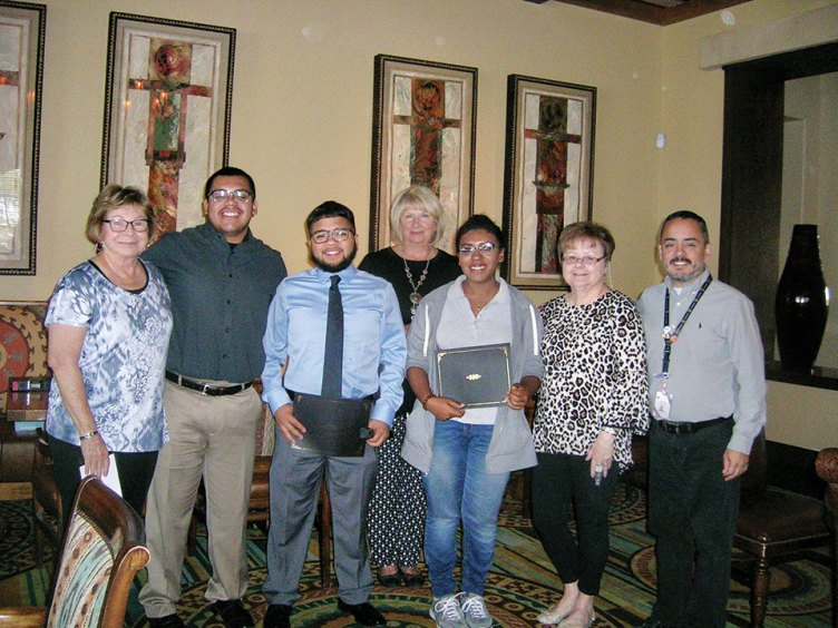 Kay McMurray, co-chair; Eduardo Gaspar, recipient; Edward Sauceda, recipient; Barbara Crawford, Scholarship Chairman; Bethany Watts-Cruz, recipient; Ann White, co-chair and Frank Jimenez, School Counselor