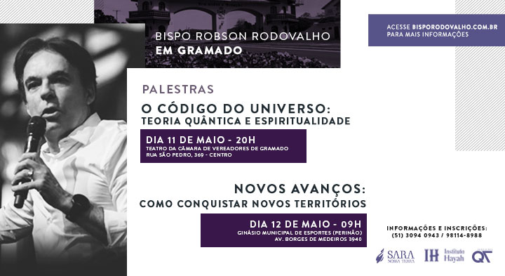 Bispo Rodovalho ministra palestras em Gramado, neste final de semana