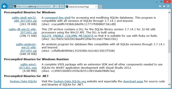 Getting Started with SQLite on Windows 8 > Installation