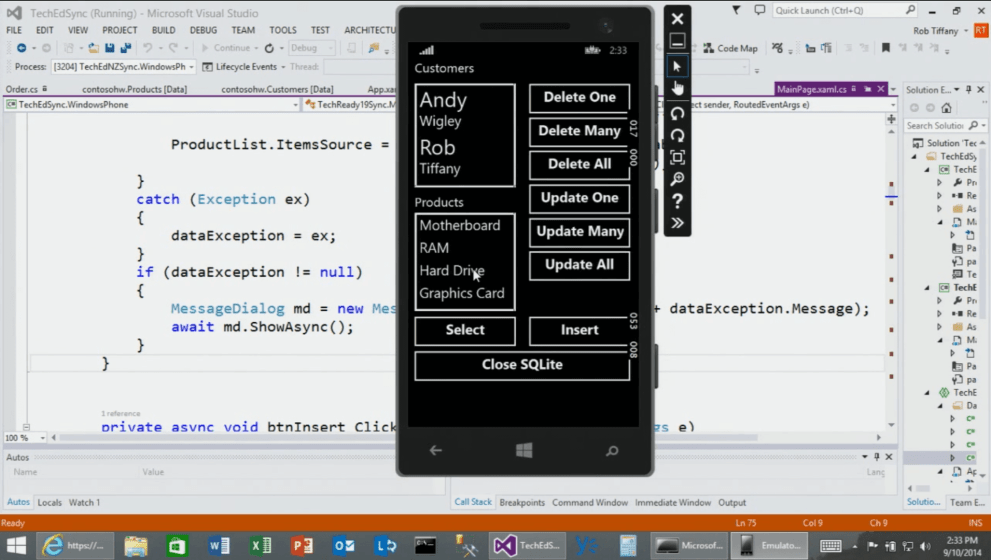 Supercharge your Mobile Line of Business Solutions with SQLite and Offline Data Sync via Universal Apps for Windows