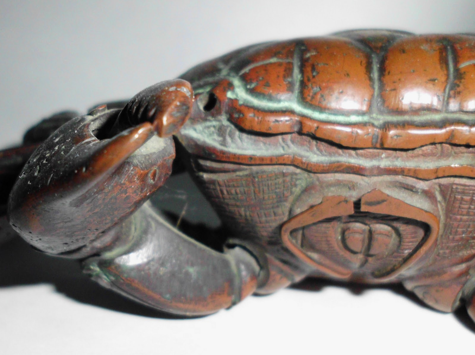 C 1800 Chinese Bronze Red Crab With Detailed Anatomy