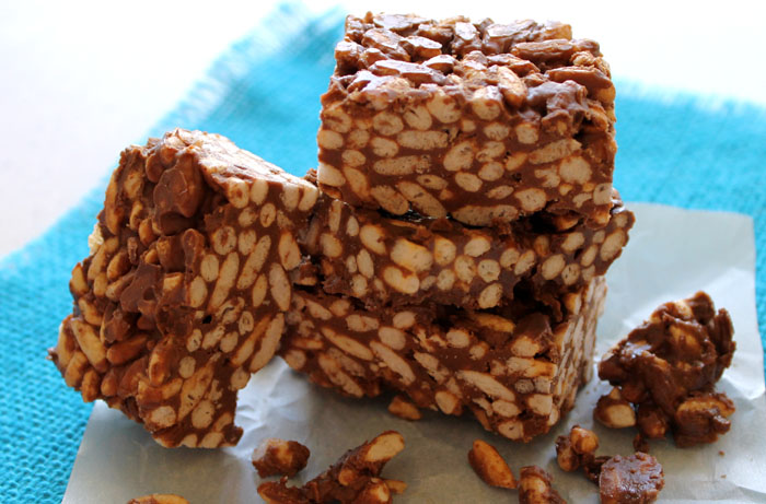 Peanut Butter and Chocolate Puffed Rice Treats