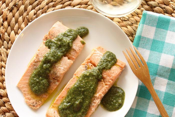 Salmon with 4-Herb Pesto